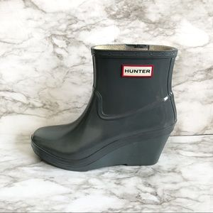 Hunter Aston Gray Wedge Ankle Rain Boots